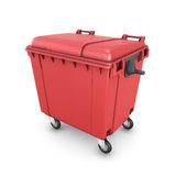 Red trash can on wheels Royalty Free Stock Photography