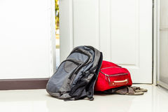 Red travel bag , backpack and shoes Royalty Free Stock Photos