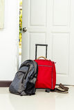 Red travel bag , backpack and shoes Royalty Free Stock Image