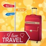 Red Travel bag. On orange background. Vector illustration travel bag for poster Stock Images