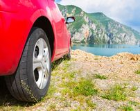 Red travel car Royalty Free Stock Images