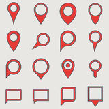 Red travel pins Stock Photography