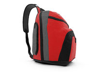 Red travel rucksack. Isolated red travel rucksack on a white background Stock Photos