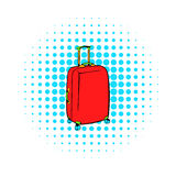 Red travel suitcase icon, comics style Royalty Free Stock Images