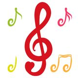 Red treble clef with heart surrounded by colored notes.  Stock Photo