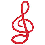 Red treble clef isolated  symbol Royalty Free Stock Photography