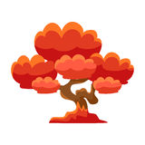 Red Tree Bonsai Miniature Traditional Japanese Garden Landscape Element Vector Illustration Stock Photos