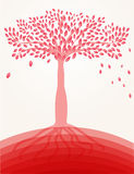 Red tree on the hill Royalty Free Stock Photos