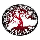 Red tree of life. Dark sign - the tree of life is a symbol of family and love Royalty Free Stock Photos