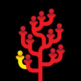 Red tree of related people with one person being different vector illustration