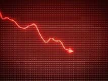 Red trend as symbol of economy drop or financial crisis. Business pattern Stock Photos