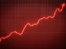 Red trend as symbol of financial growth. Useful for analy Royalty Free Stock Photos