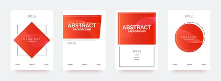Red trendy banners, brochures, flyers, backgrounds with abstract gradient shapes. royalty free illustration