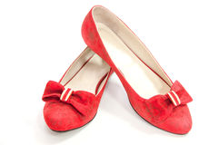 Red trendy pair of ballet flats isolated on white. Royalty Free Stock Photography