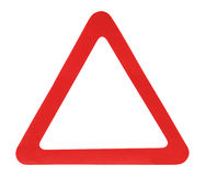 Red Triangle. Sign isolated over white background Stock Photography