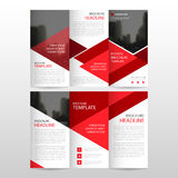 Red triangle business trifold Leaflet Brochure Flyer report template vector minimal flat design set, abstract three fold. Presentation layout templates a4 size Royalty Free Stock Photo