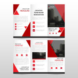 Red triangle business trifold Leaflet Brochure Flyer report template vector minimal flat design set, abstract three fold. Presentation layout templates a4 size Royalty Free Stock Photos