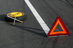 Red triangle of a car royalty free stock photography