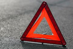 Red triangle of a car Stock Photos
