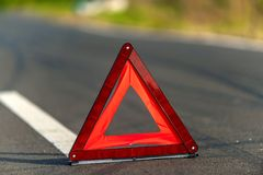Red triangle of a car Stock Image