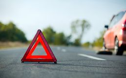 Red triangle of a car Royalty Free Stock Image