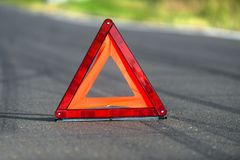 Red triangle of a car Royalty Free Stock Photo