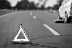 Red triangle of a car Royalty Free Stock Photos