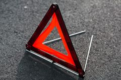 Red triangle of a car Stock Images