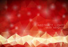 Red triangle geometrical background with lights. Red abstract triangle geometrical background with lights and bokeh. Vector eps10 Royalty Free Stock Image