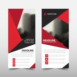 Red triangle roll up business brochure flyer banner design , cover presentation abstract geometric background, modern publication. X-banner and flag-banner stock illustration
