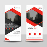 Red triangle  roll up business brochure flyer banner design , cover presentation abstract geometric background, modern publication Royalty Free Stock Image