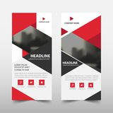Red triangle roll up business brochure flyer banner design ,. Cover presentation abstract geometric background, modern publication x-banner and flag-banner Royalty Free Stock Photo