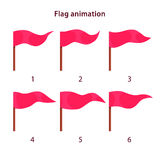 Red triangle shape flag waving animation sprites. On white background, vector animation frames for game design Stock Photos