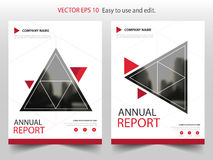 Red triangle Vector Brochure annual report Leaflet Flyer template design, book cover layout design, abstract business presentation. Template, a4 size design stock illustration