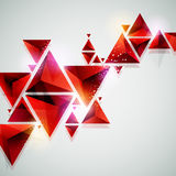 Red triangles. Abstract red 3D background. Red triangles Stock Photo