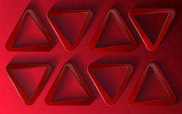 Red triangles. On a red background 3D Stock Photo