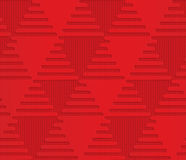 Red triangles on checkered background. Seamless geometric background. 3D layered and textured pattern with realistic shadow and cut out effect Stock Photos