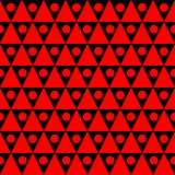 Red triangles Seamless Texture Background. Seamless red triangular shapes with circles background. Geometric texture pattern Royalty Free Stock Image