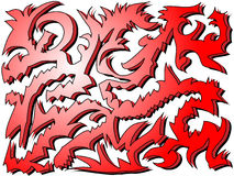 Red tribal-like design. Urban art shapes resembling a tribal tattoo design style Stock Photography