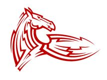 Red tribal mustang horse tattoo Royalty Free Stock Photography