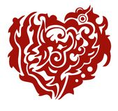 Red tribal Phoenix heart. Tribal mystical twirled heart of the Phoenix. Red on the white royalty free stock images