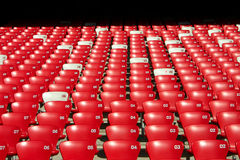 Red Tribune Seats Overview Royalty Free Stock Photos