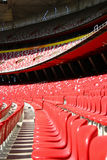 Red Tribune Seats in a stadium - front view Stock Image