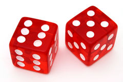 Red tricky dice Stock Photos