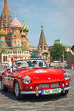 Red Triumph Spitfire is on start Stock Images
