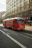 Red Trolley. Red 1948 Pacific Electric PCC (Presidents' Conference Committee) streetcar in downtown San Francisco royalty free stock photos