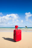 Red trolley at the beach Royalty Free Stock Photos