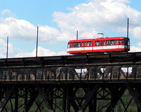 Red Trolley Car On Bridge. Red trolley car on High Level Bridge Edmonton Alberta Royalty Free Stock Images
