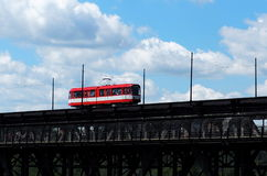 Red Trolley Car On Bridge Royalty Free Stock Images