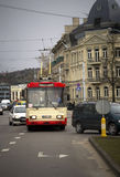 Front of Red Trolley in Vilnius, Lithuania Stock Photography